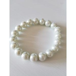 Stunning Glass Pearl Costume Stretch Bracelet